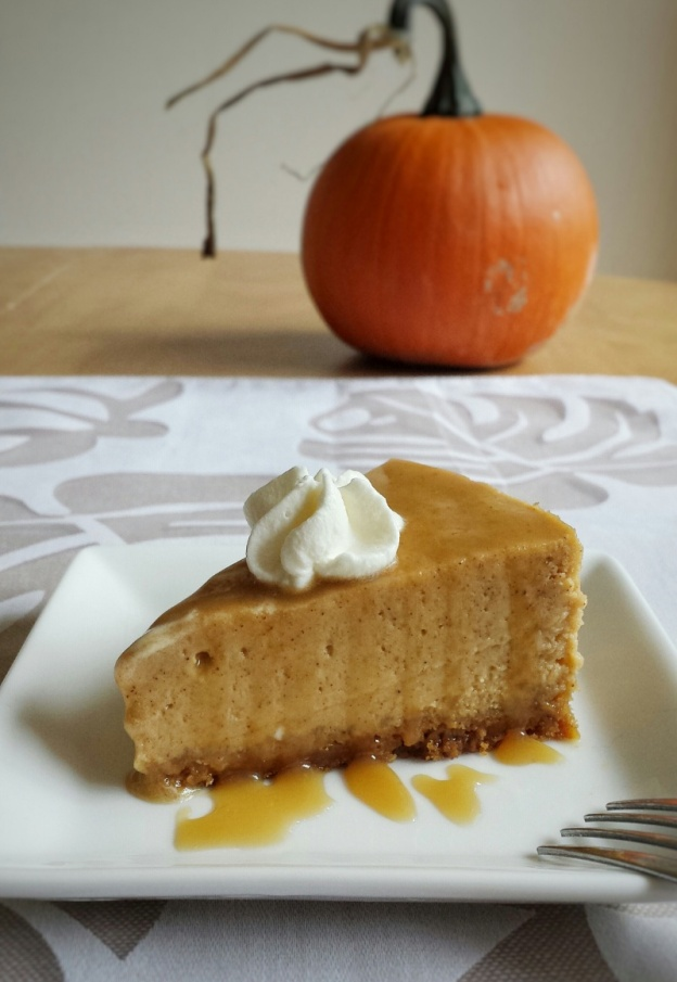 Pumpkin Cheesecake with Maple Caramel Sauce