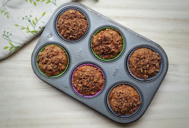 Carrot Spelt Muffins with Maple Roasted Pecans (Vegan)