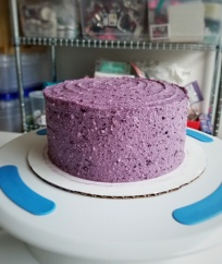 Vanilla Cake with Blueberry Cream Cheese Frosting